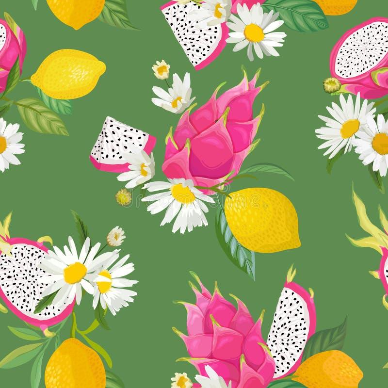 Sömlös modell med drakefrukter, pitaya, den citrusa citronen och tusenskönablommabakgrund Utdragen illustrationvattenfärg för han stock illustrationer