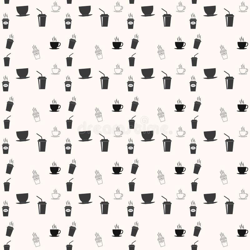 Sömlös modell med drinkte- och kaffekoppar Kaffeavbrott som belägger med tegel bakgrund royaltyfri illustrationer