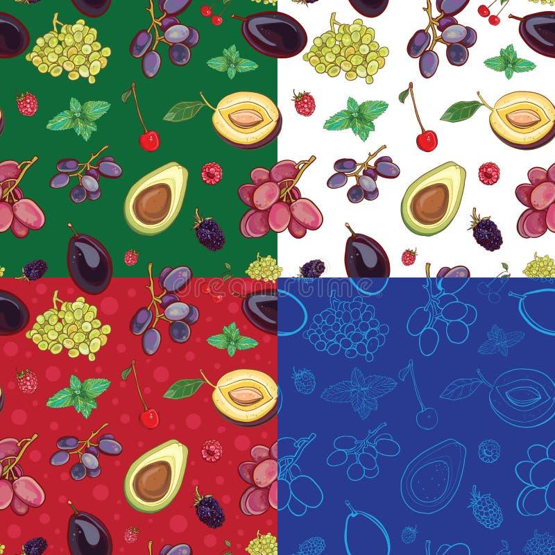 Sömlös modell med druvor, plommoner, körsbär, avokado vektor illustrationer