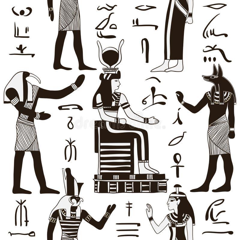 Sömlös modell med egyptiska gudar och forntida egyptiska hieroglyf stock illustrationer