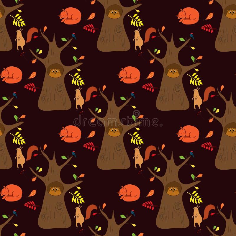 Sömlös modell med ek- och skogdjur: sova räven, ekorren och ugglan vektor illustrationer