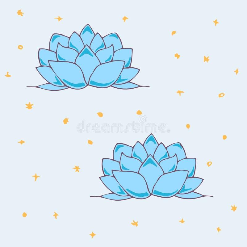 Sömlös modell med en bild av en Lotus Flower och kulöra stjärnor också vektor för coreldrawillustration royaltyfri illustrationer