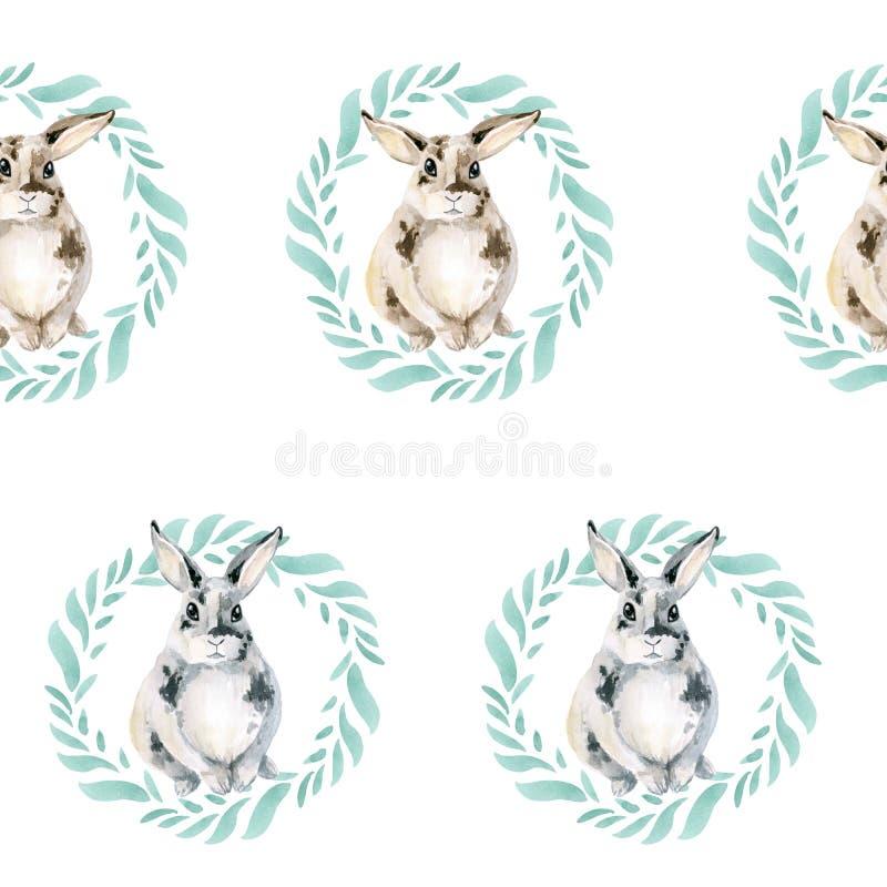 Sömlös modell med en gullig kanin i en krans av gröna sidor En bra liten kanin på en vit bakgrund royaltyfria bilder