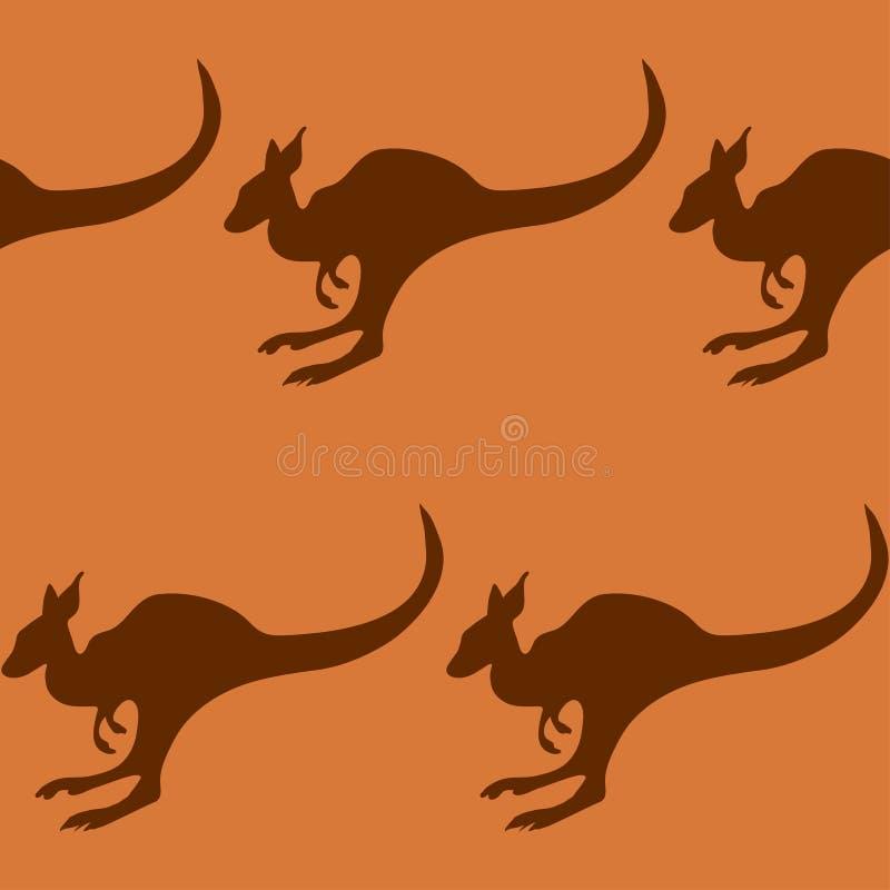 Sömlös modell med en känguru stock illustrationer