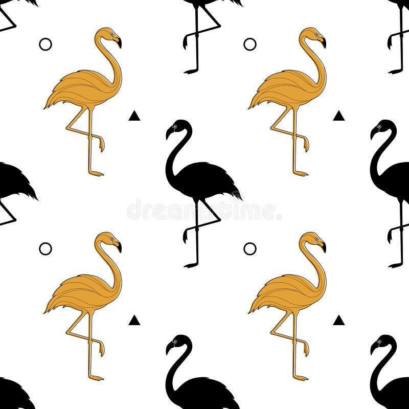 Sömlös modell med en kontur av en guld- flamingo på en vit bakgrund vektor En enkel modell stock illustrationer