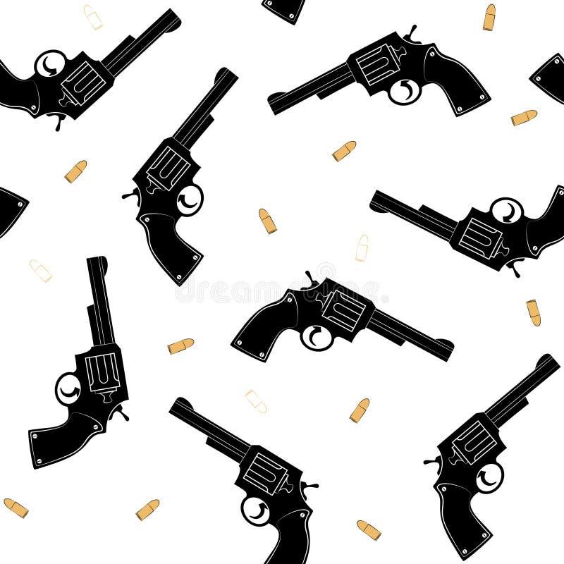Sömlös modell med en kontur av kulor för en svart pistol och guldpå en vit bakgrund vektor royaltyfri illustrationer