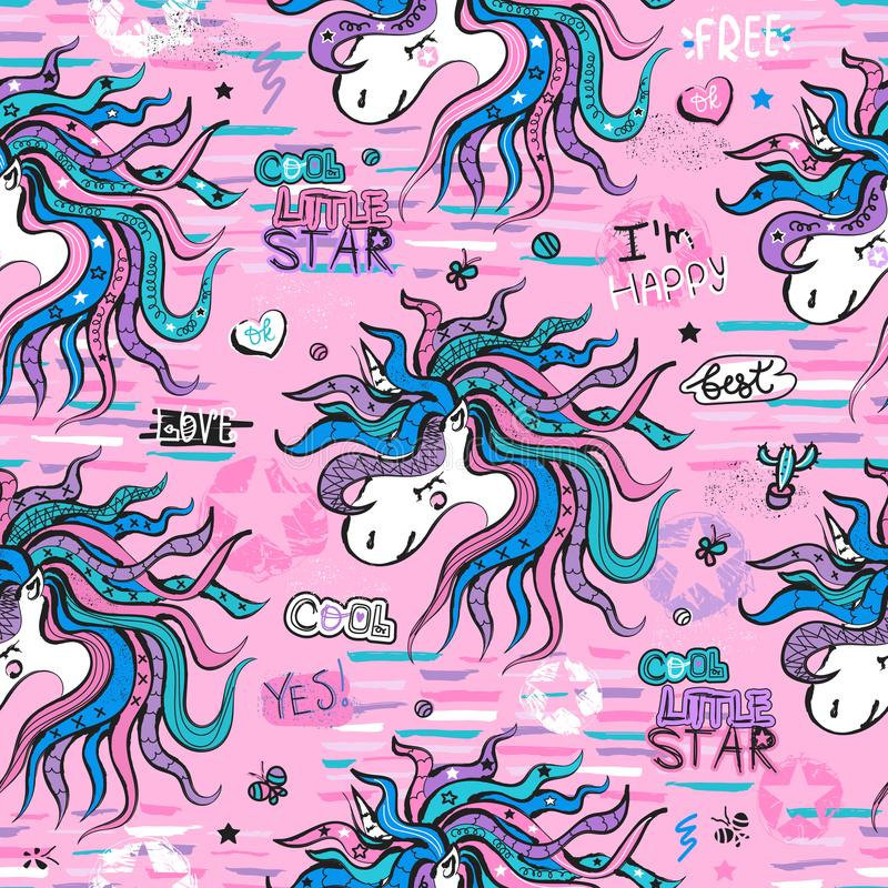 Sömlös modell med enhörningar på en rosa bakgrund Ungeillustration för designtryck, kläder, textiler, kort och födelsedag in vektor illustrationer