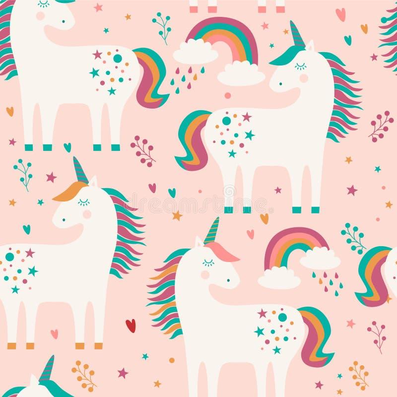 Sömlös modell med enhörningar, stjärnor, regnbågar och hjärtor på rosa bakgrund ocks? vektor f?r coreldrawillustration stock illustrationer