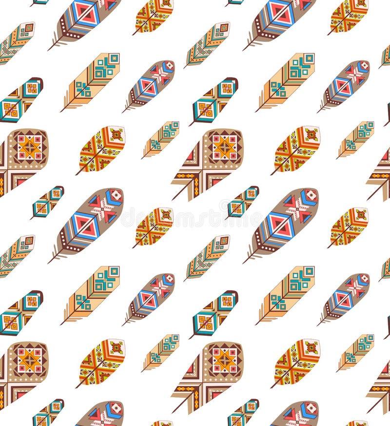 Sömlös modell med etniska fjädrar Kulöra dekorativa fjädrar Boho stil royaltyfri illustrationer