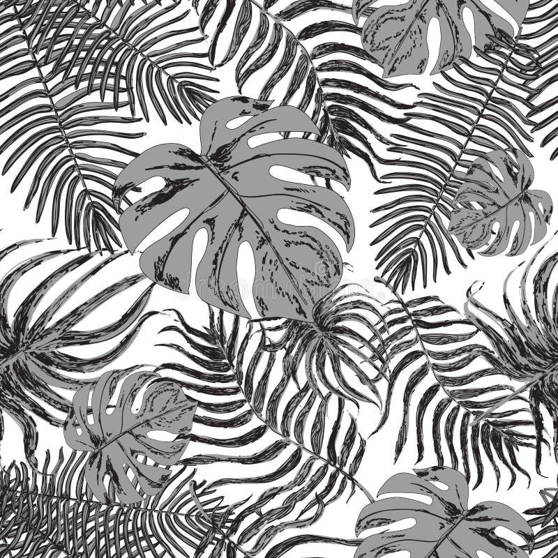 Sömlös modell med exotiska blad royaltyfri illustrationer