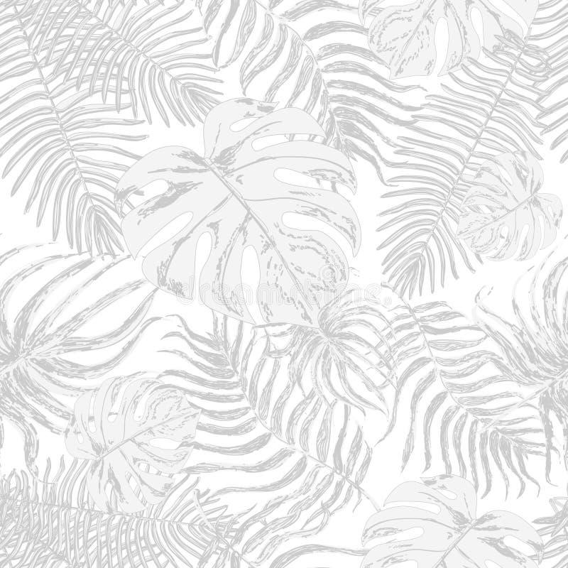 Sömlös modell med exotiska blad stock illustrationer