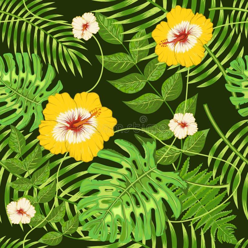 Sömlös modell med exotiska tropiska sidor och blommor stock illustrationer