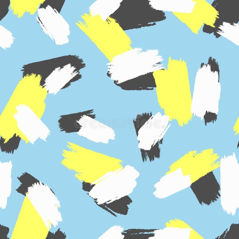 Sömlös modell med färgade upprepade slaglängder av akvarellborsten stock illustrationer
