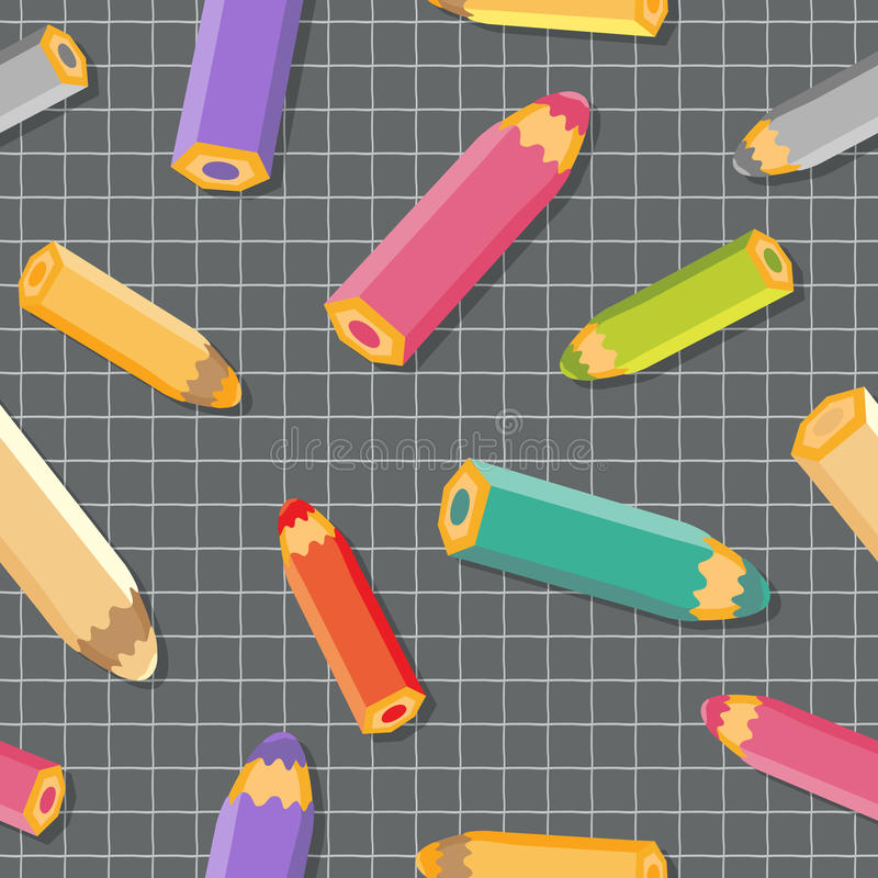 Sömlös modell med färgblyertspennor. Skolabakgrund. royaltyfri illustrationer