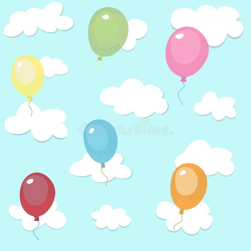 Sömlös modell med färgrika ballonger royaltyfri illustrationer