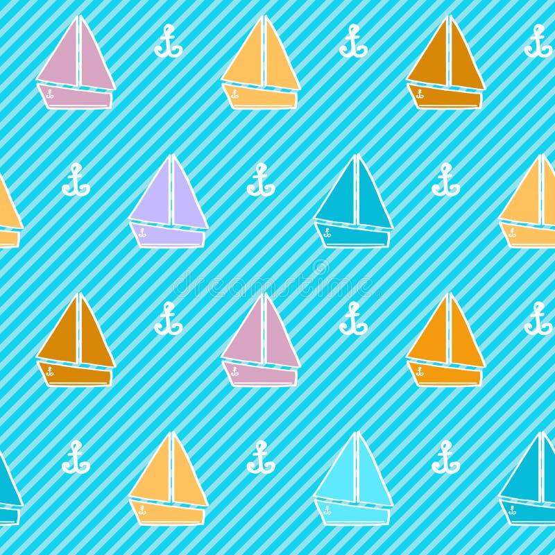 Sömlös modell med färgrika fartyg stock illustrationer