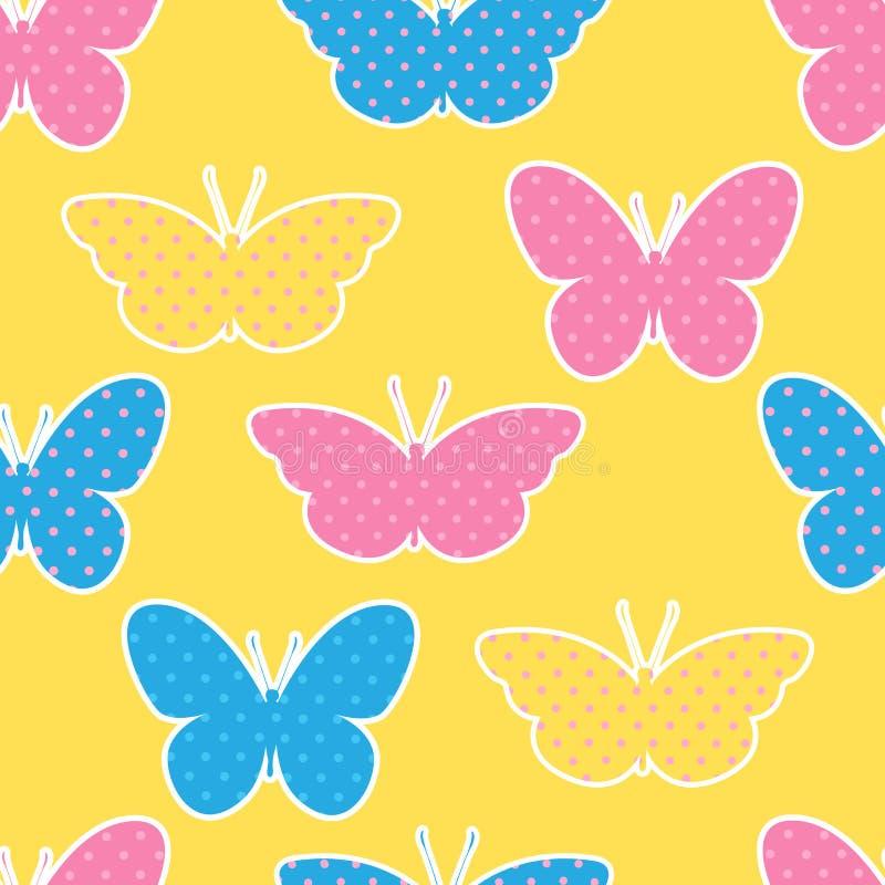 Sömlös modell med färgrika fjärilskonturer på guling stock illustrationer