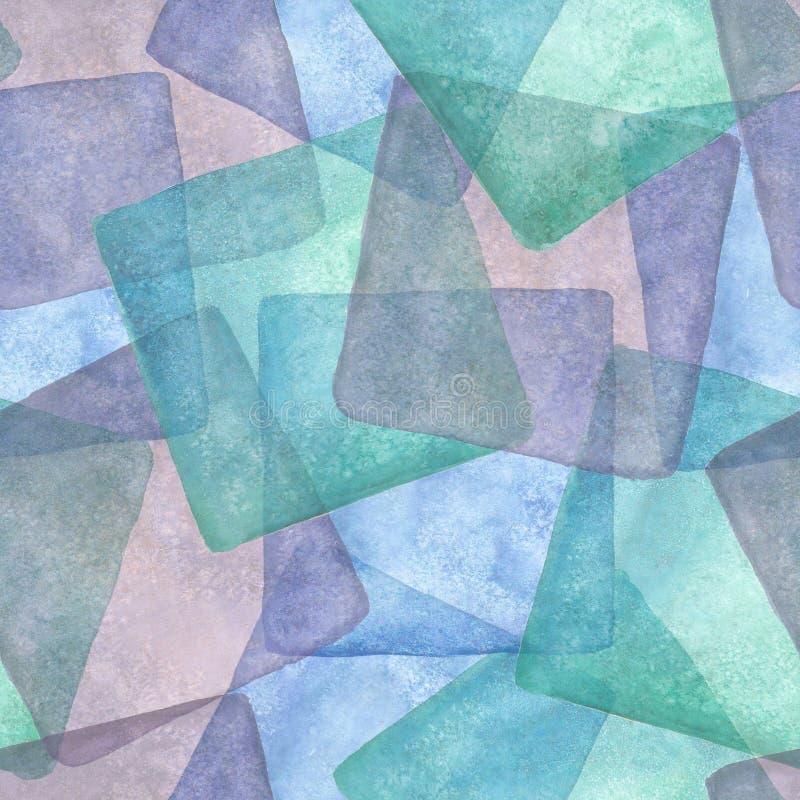 Sömlös modell med färgrika fyrkanter Vattenfärgblått, lilor och turkosbakgrund vektor illustrationer