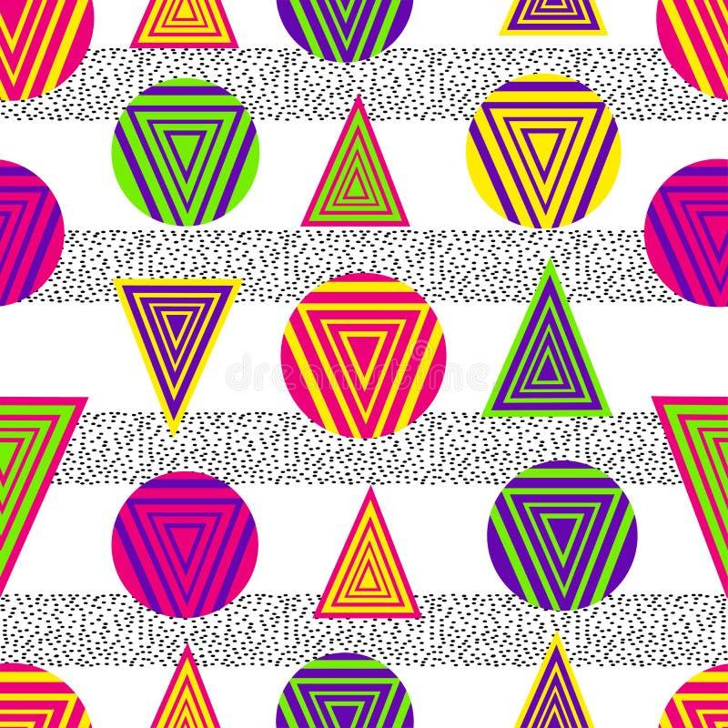 Sömlös modell med färgrika geometriska diagram vektor illustrationer