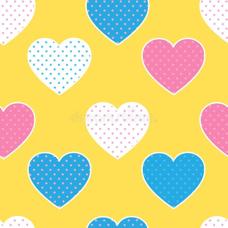 Sömlös modell med färgrika hjärtakonturer på guling tillbaka royaltyfri illustrationer