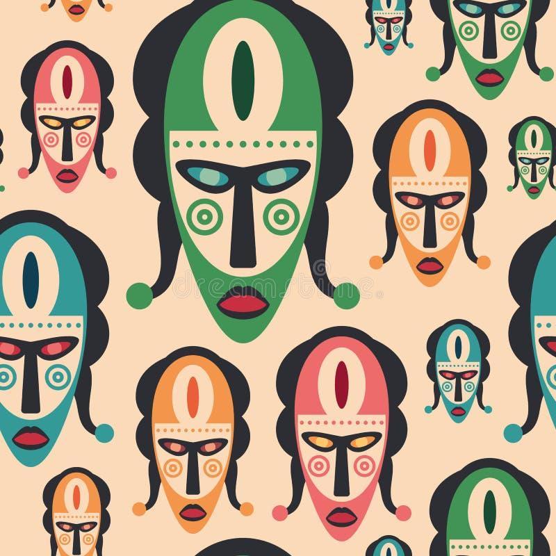Sömlös modell med färgrika karnevalmaskeringar stock illustrationer