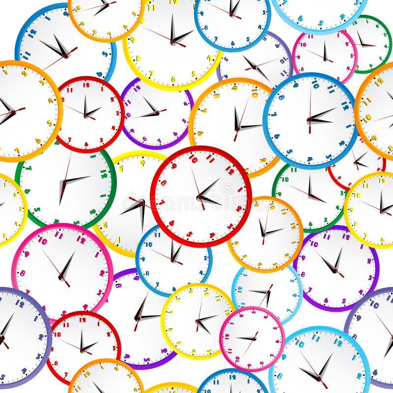 Sömlös modell med färgrika klockor stock illustrationer