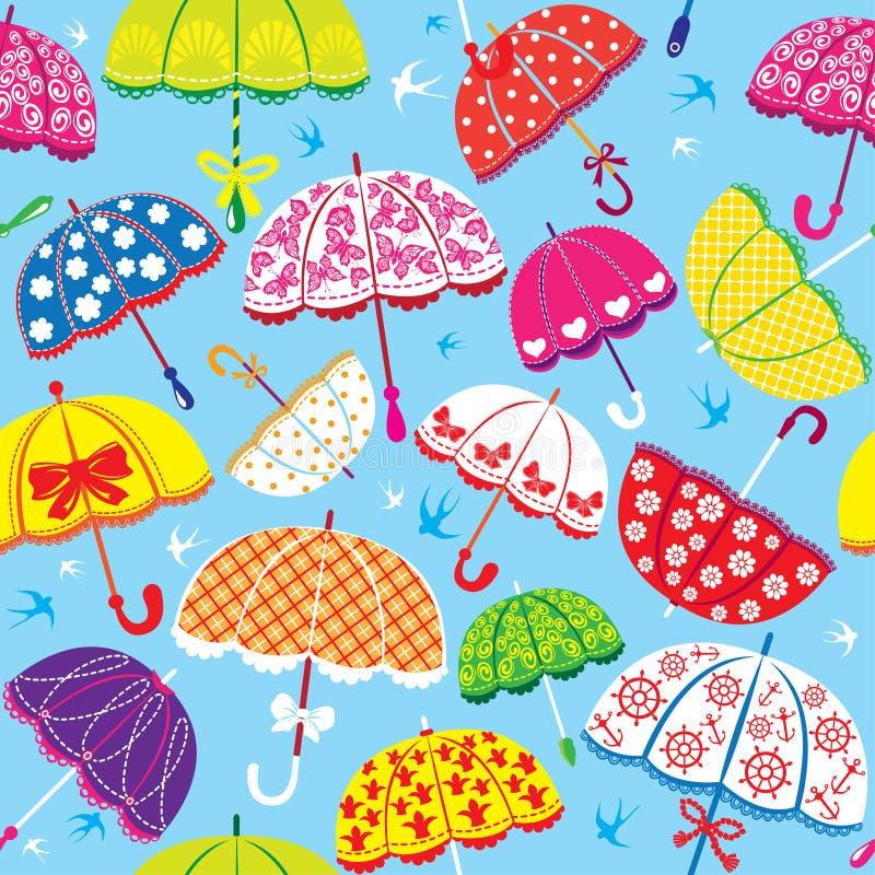 Sömlös Modell Med Färgrika Paraplyer Royaltyfri Bild