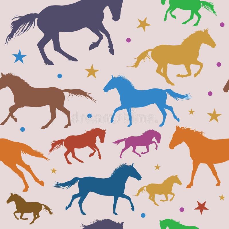Sömlös modell med färgrika rinnande hästar på grå bakgrund stock illustrationer