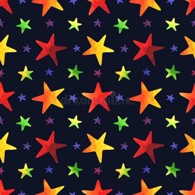 Sömlös modell med färgrika stjärnor för vattenfärg på marinblå bakgrund royaltyfri illustrationer