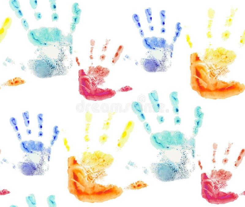Sömlös modell med färgrika vattenfärgtryck av barns händer royaltyfri illustrationer