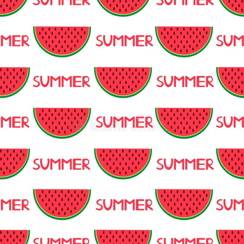 Sömlös modell med färgrika vattenmelon och ordsommar vektor illustrationer