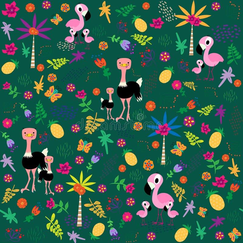 Sömlös modell med fågelfamiljen Flamingo och struts Flawers sidor, palmtrees Vektorillustration i tecknad filmstil stock illustrationer