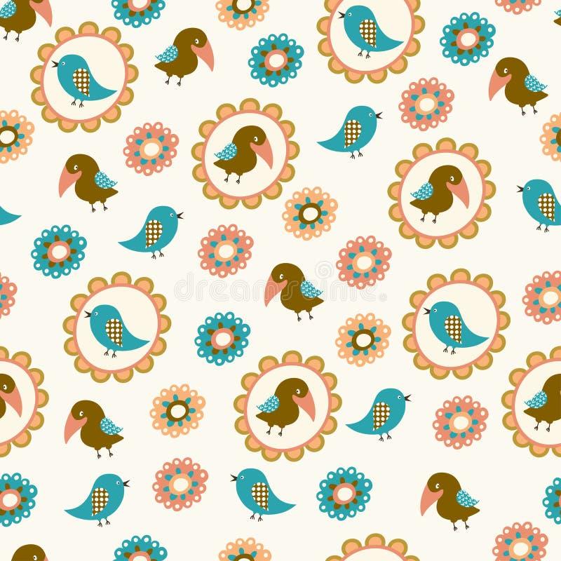 Sömlös modell med fåglar och blommor vektor illustrationer