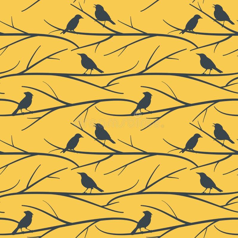 Sömlös modell med fåglar på filialvektorn eps8 royaltyfri illustrationer
