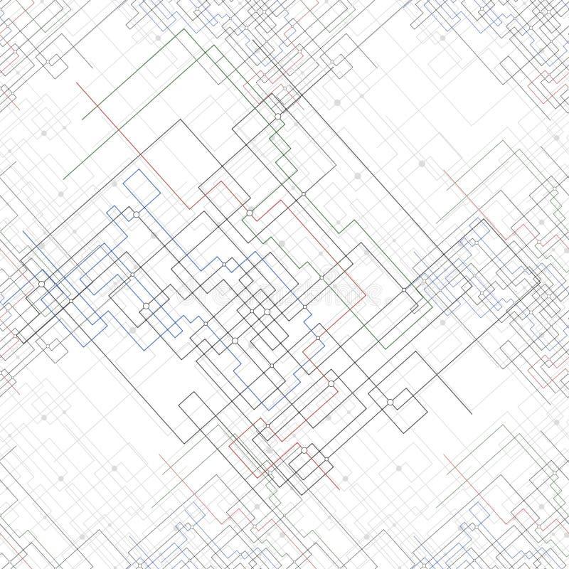 Sömlös modell med förbindelselinjer och prickar stock illustrationer