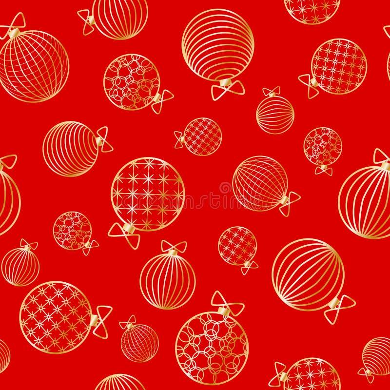 Sömlös modell med festlig bakgrund för julbollvinter på prydnaden för nytt år och julför hälsningkort royaltyfri illustrationer