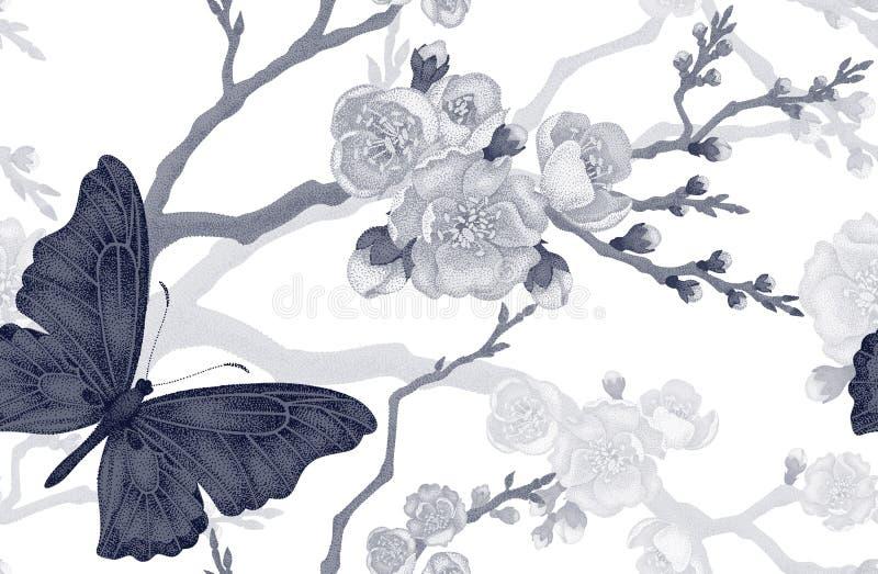Sömlös modell med fjärilen och den körsbärsröda filialen vektor illustrationer