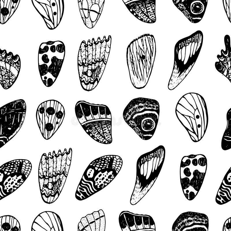 Sömlös modell med fjärilsvingar Design för bakgrund för färgpulverhand utdragen ocks? vektor f?r coreldrawillustration vektor illustrationer