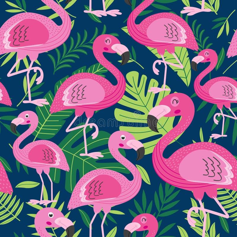 Sömlös modell med flamingo stock illustrationer