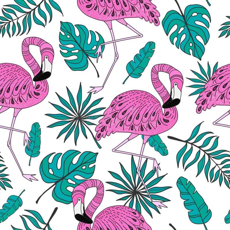 Sömlös modell med flamingo Räcka den utdragna vektorn tropiska beståndsdelar på vit bakgrund vektor illustrationer