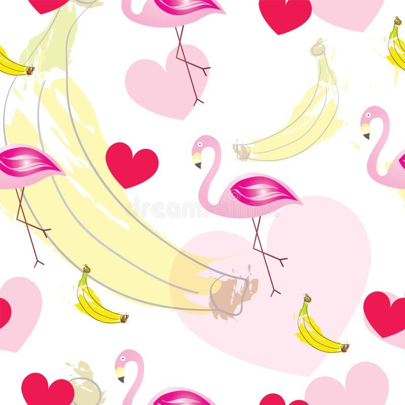 Sömlös modell med flamingo - rosa hjärtor och bananer - sommartema stock illustrationer