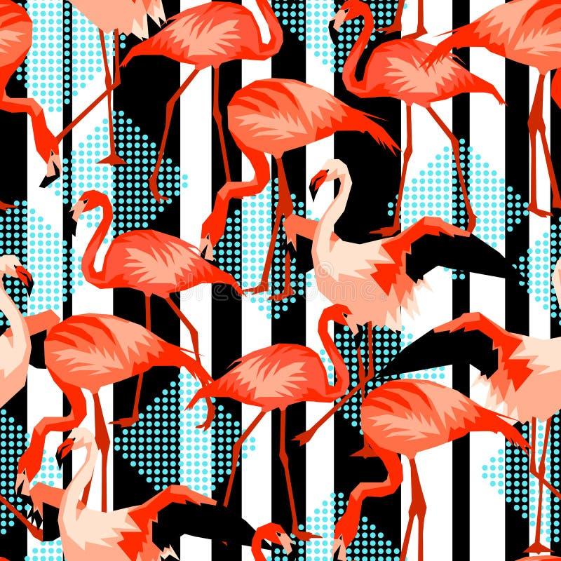 Sömlös modell med flamingo Tropiska ljusa abstrakta fåglar vektor illustrationer