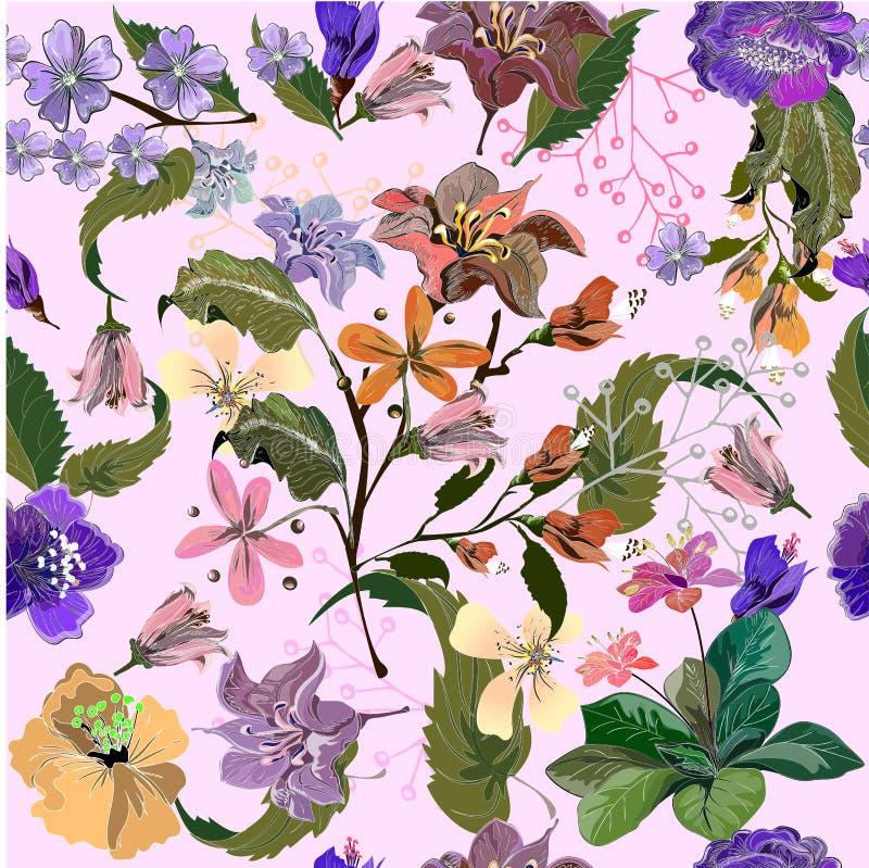 Sömlös modell med flerfärgade exotiska blommor på rosa färger stock illustrationer