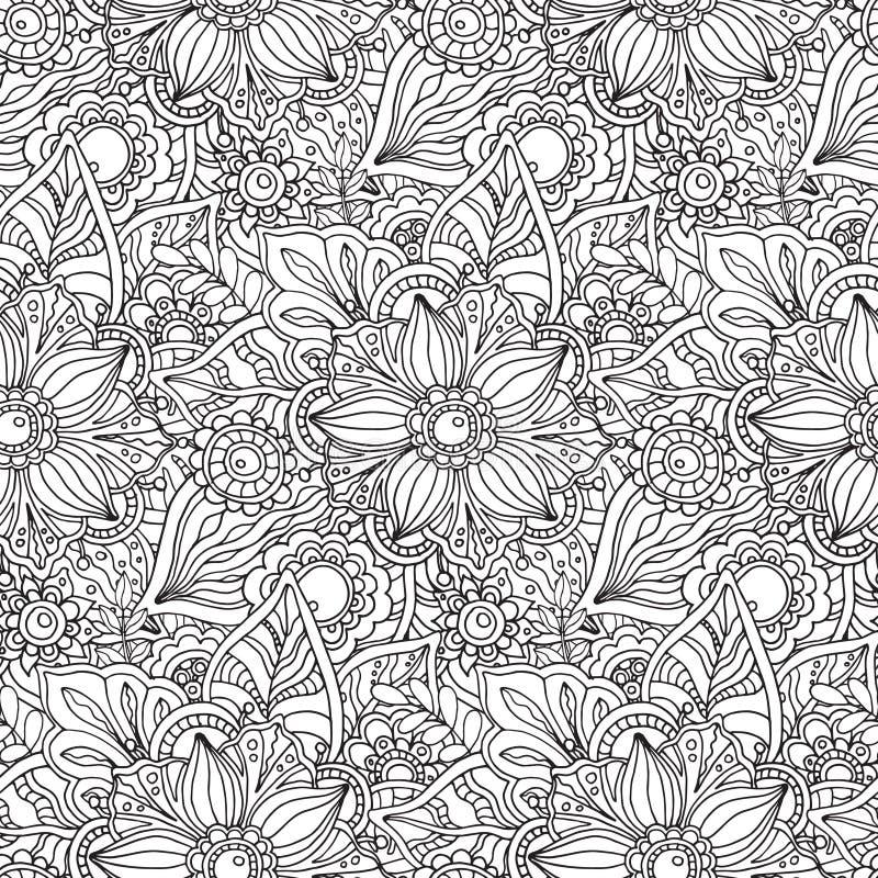 Sömlös modell med florallprydnaden vektor illustrationer