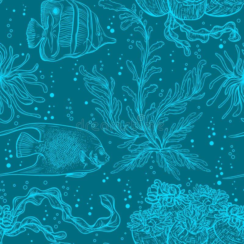 Sömlös modell med flottaväxter, korall, havsväxt och den tropiska fisken royaltyfri illustrationer