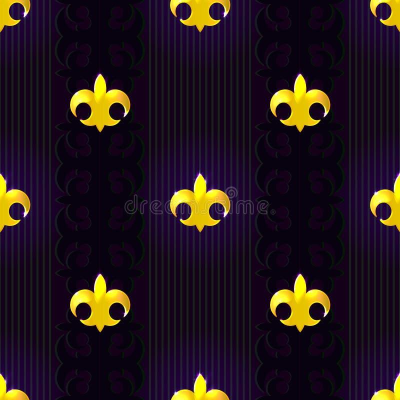 Sömlös modell med fluer de lis på mörk bakgrund stock illustrationer