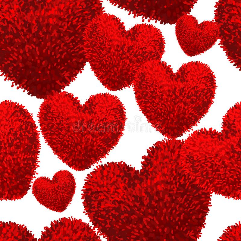 Sömlös modell med fluffig mjuk hjärta vektor illustrationer