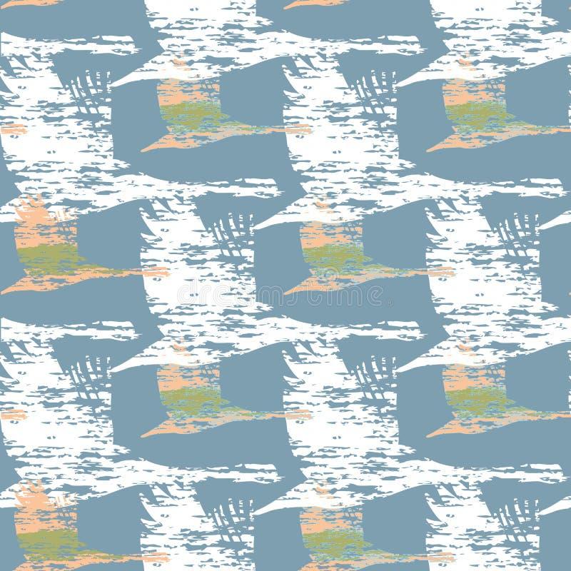Sömlös modell med flygsvanar på blå bakgrund Inpackning av p royaltyfri illustrationer