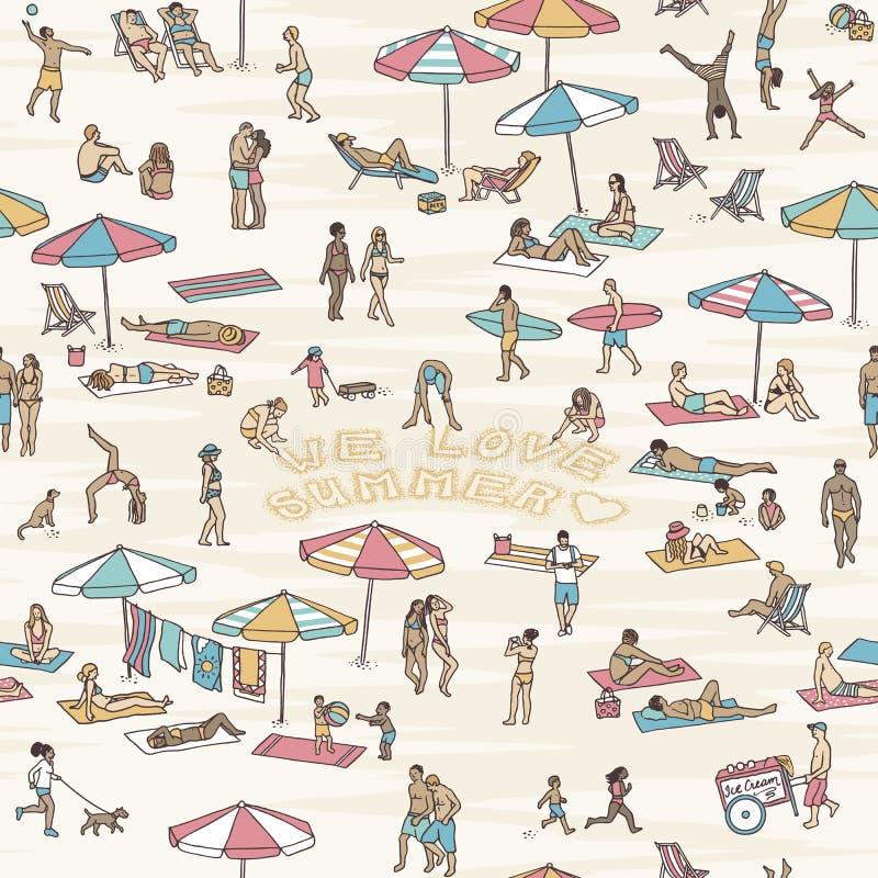 Sömlös modell med folk på stranden vektor illustrationer