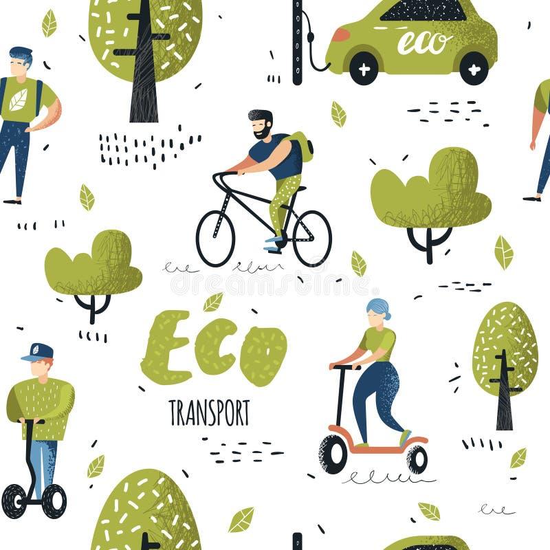 Sömlös modell med folk som rider Eco trans. Grön stads- stadstransportbakgrund många begreppsekologibilder mer min portfölj royaltyfri illustrationer